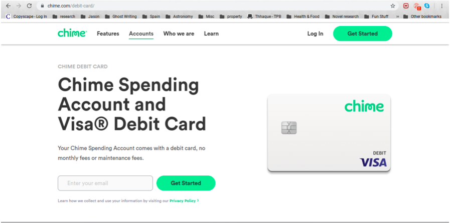 Chime builder credit card