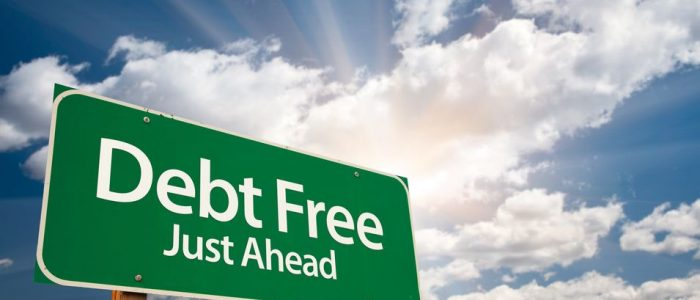 Debt Free Green Road Sign
